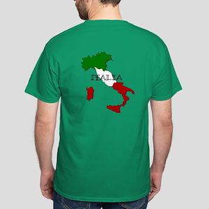 Italy Flag Map Dark T-Shirt
