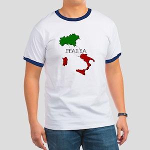 Italy Flag Map Ringer T
