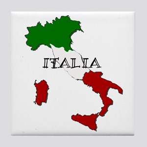 Italy Flag Map Tile Coaster