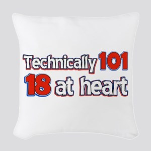 101 year old designs Woven Throw Pillow
