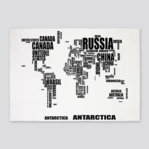 Typography World Map 5'x7'Area Rug