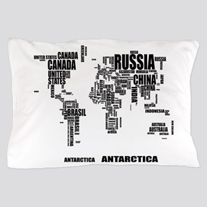 Typography World Map Pillow Case