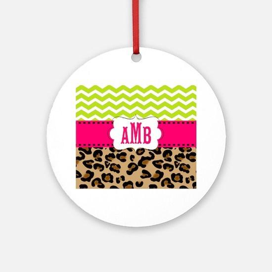 Pink Green Chevron Leopard Monogram Ornament (Roun