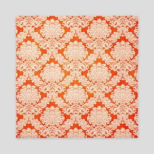 Trendy Vintage orange cream damask Queen Duvet