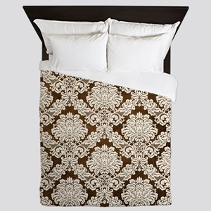 Trendy Vintage brown cream damask Queen Duvet