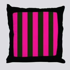 Hot Pink and Black Stripes Throw Pillow