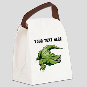 Custom Green Alligator Canvas Lunch Bag