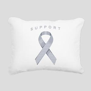 Silver Awareness Ribbon Rectangular Canvas Pillow