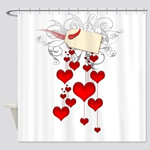 Red hearts Shower Curtain