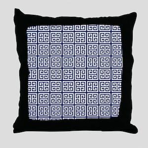 Blue Greek Key Pattern Throw Pillow