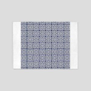 Blue Greek Key Pattern 5'x7'Area Rug