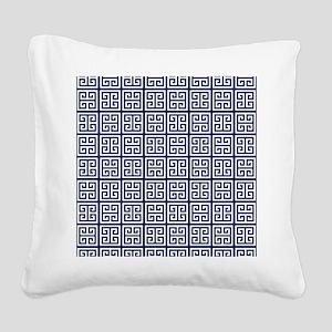 Blue Greek Key Pattern Square Canvas Pillow