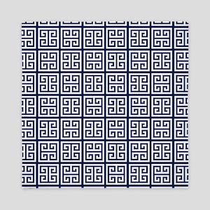 Blue Greek Key Pattern Queen Duvet