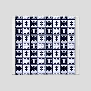 Blue Greek Key Pattern Throw Blanket