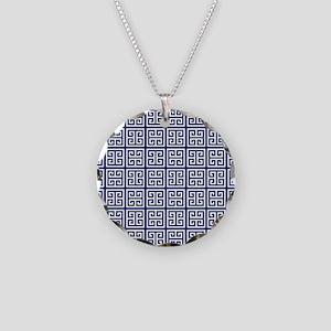 Blue Greek Key Pattern Necklace