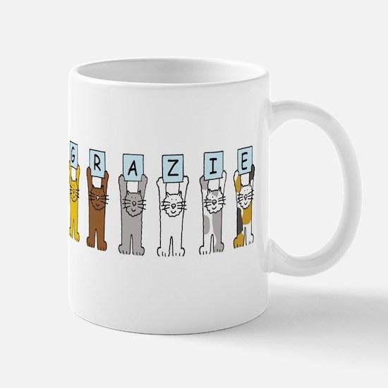 Grazie thanks in Italian cats. Mugs