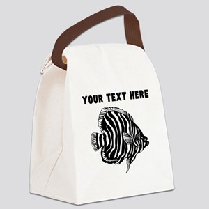 Custom Zebra Tropical Fish Canvas Lunch Bag