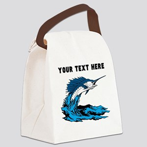 Custom Blue Marlin Canvas Lunch Bag