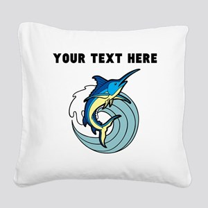 Custom Blue Marlin Square Canvas Pillow