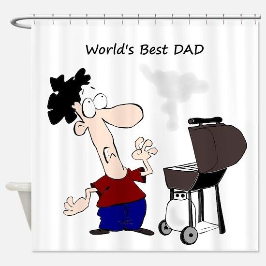 Worlds Best Dad Fun quote BBQ Chef Cartoon Shower