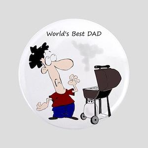 """Worlds Best Dad Fun quote BBQ Chef Cartoon 3.5"""" Bu"""