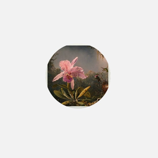 Cattleya Orchid and Hummingbirds Mini Button