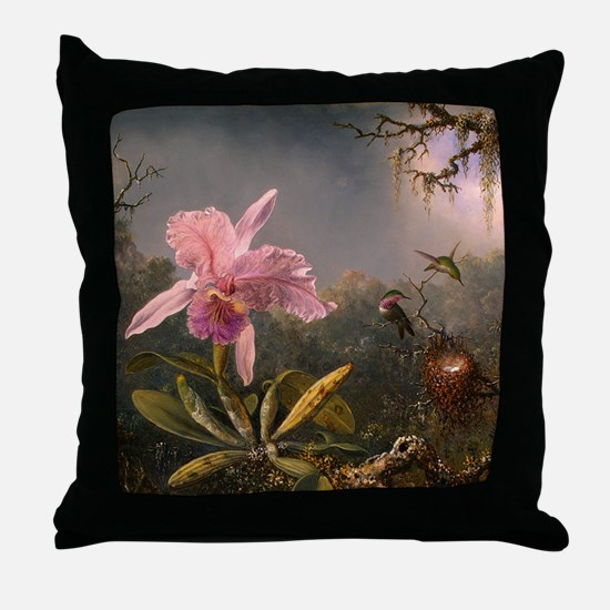 Cattleya Orchid and Hummingbirds Throw Pillow