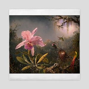 Cattleya Orchid and Hummingbirds Queen Duvet