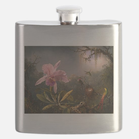 Cattleya Orchid and Hummingbirds Flask