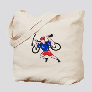 Cyclist Carry Mountain Bike on Shoulders Cartoon T