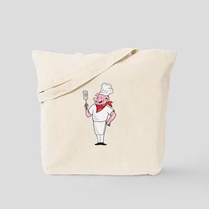 Pig Chef Cook Holding Spatula Cartoon Tote Bag