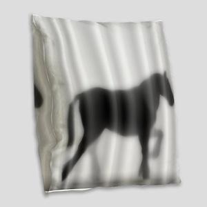 Draft Horse Silhouette Burlap Throw Pillow