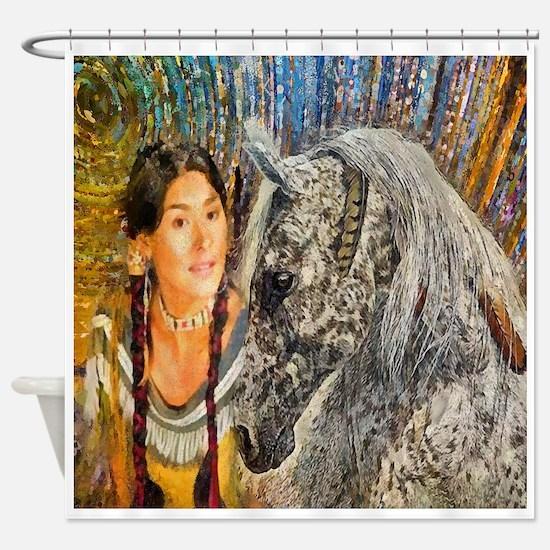 Horse Woman Shower Curtain