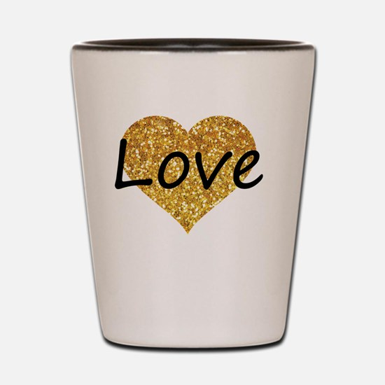 love gold glitter heart Shot Glass