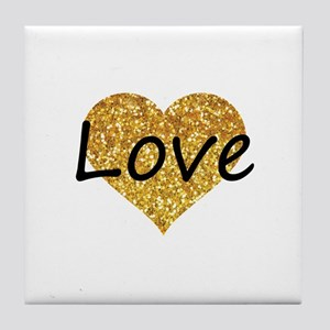 love gold glitter heart Tile Coaster