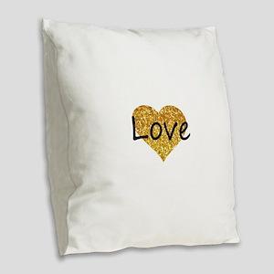 love gold glitter heart Burlap Throw Pillow