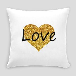 love gold glitter heart Everyday Pillow