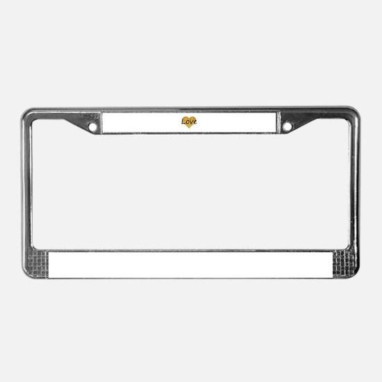 love gold glitter heart License Plate Frame