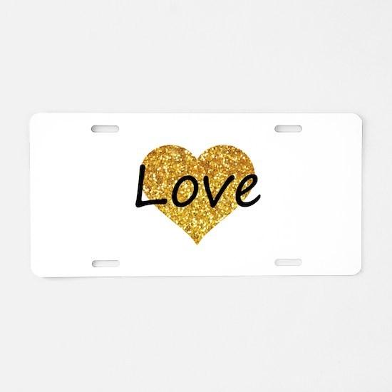 love gold glitter heart Aluminum License Plate