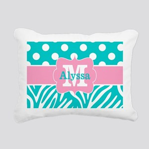 Pink Teal Dots Zebra Personalized Rectangular Canv