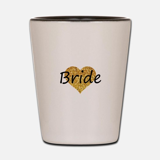 bride gold glitter heart Shot Glass
