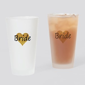 bride gold glitter heart Drinking Glass