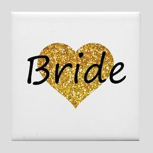 bride gold glitter heart Tile Coaster