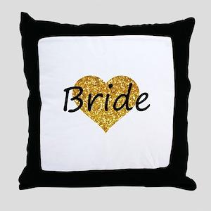 bride gold glitter heart Throw Pillow