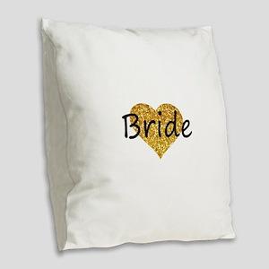 bride gold glitter heart Burlap Throw Pillow