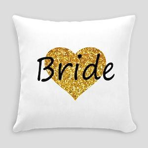 bride gold glitter heart Everyday Pillow