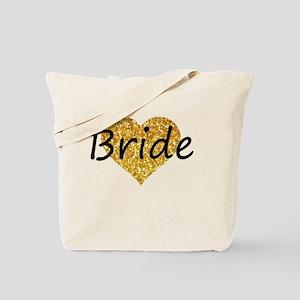 bride gold glitter heart Tote Bag