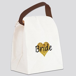 bride gold glitter heart Canvas Lunch Bag
