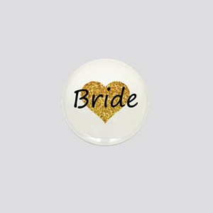 bride gold glitter heart Mini Button