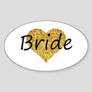 bride gold glitter heart Sticker